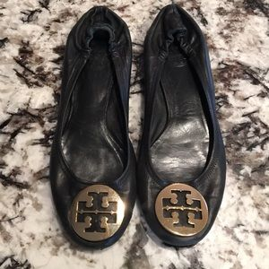 Tory Burch Black Leather Flats Shoes